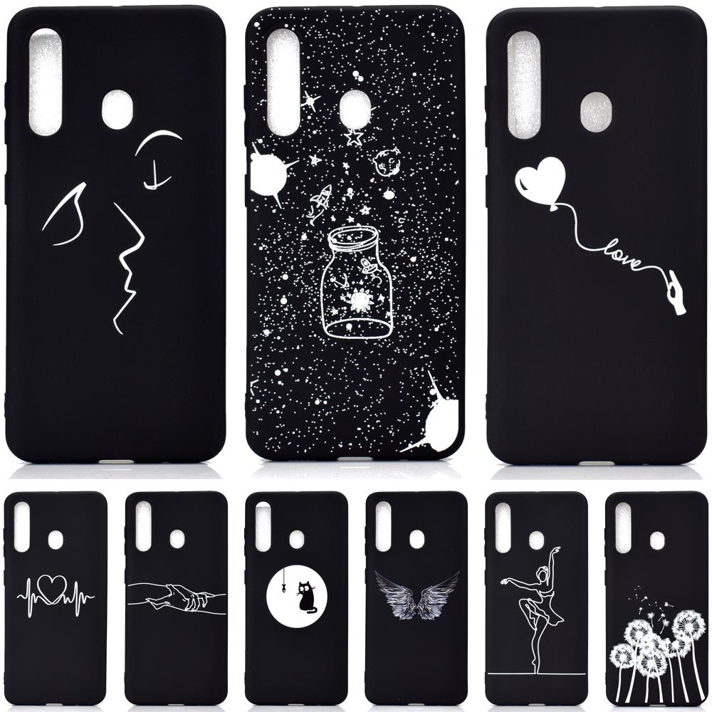 Black Matte Case for <font><b>Samsung</b></font> Galaxy <font><b>A50</b></font> A30 A40 A10 M10 M20 M30 M40 A20 A20E A60 A70 A80 A90 Soft TPU Silicone Phone Back <font><b>Cover</b></font> image