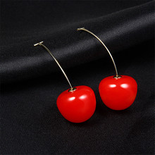 Japanese Cute Fruit Dangle Earrings Sweet Red Cherry Drop 2019 Statement Jewerly for Girls