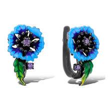 Женские серьги гвоздики с синей маргариткой черные и золотые