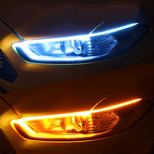 Luces LED de circulación diurna para coche, 2 uds., tira Flexible e impermeable, intermitente, color blanco, amarillo, 12V