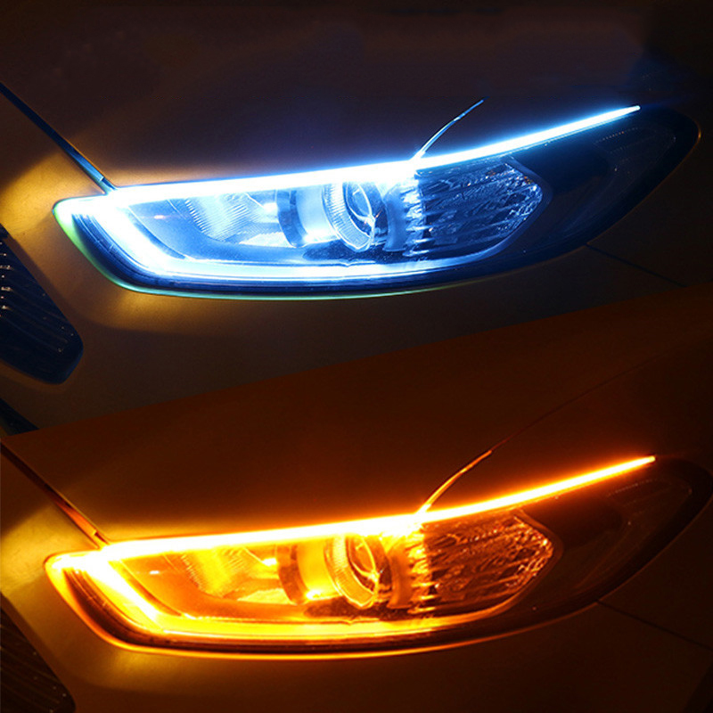 Luces LED diurnas DRL para coche, tira Flexible e impermeable, intermitente, 12V, color blanco, amarillo, 2 uds.|Lámpara de señalización| - AliExpress