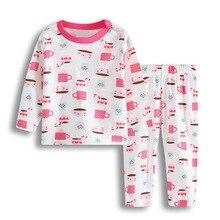 Одежда для сна для маленьких девочек; пижамные костюмы для новорожденных; хлопковый мягкий комплект одежды для сна с героями мультфильмов для младенцев; пижамы для малышей; одежда с длинными рукавами
