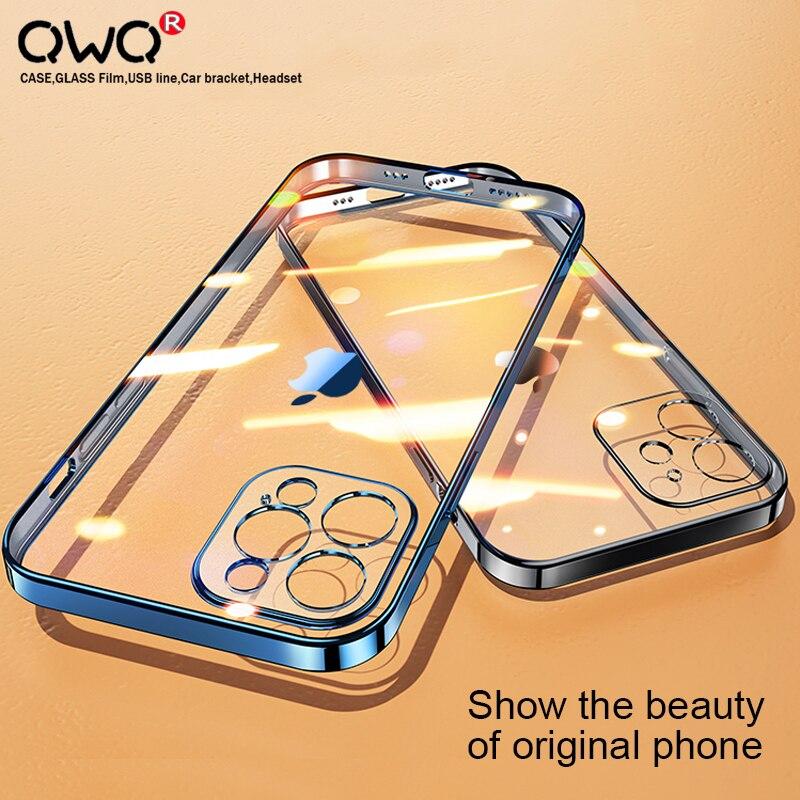 Роскошный прозрачный чехол с квадратной рамкой для iPhone 12 11 Pro Max Mini X XR XS 6 7 8 Plus SE 2020, защитная задняя крышка с полным покрытием объектива