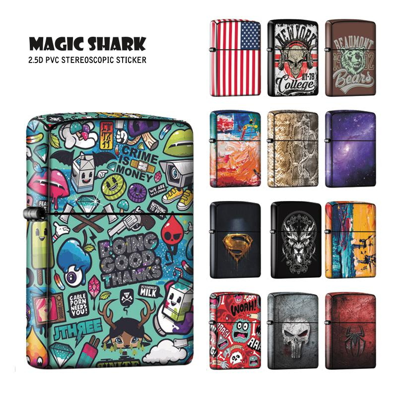 Magic Shark Skull Sky Star Snake Painting Flower Graffiti Superman Spider Man Film Case Cover Sticker For Zippo Lighter