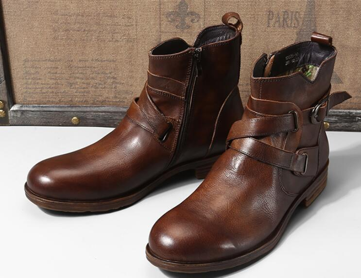 2 Colour Fashion Men Zip Buckle  Ankle Boots Genuine Leather Round Toe High-top Dress Oxford Party Wedding Shoes