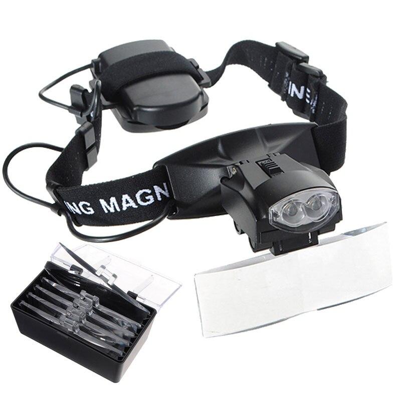 Lupa iluminada de manos libres de 10 poderes Lupa iluminada para herramientas de reparación de joyas de reloj con 5 lentes y luz LED NO.9892C