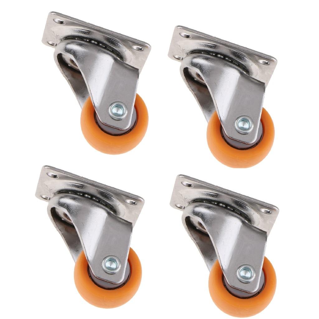 4x Nylon All Swivel Caster Wheels Plate Caster For Trolleys Wheel Orange 25mm