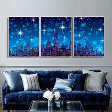 Laeacco Canvas Painting Nordic 3 Panel Cartoon Night Star Moon Building Posters and Prints Wall Art For Living Room Home Decor