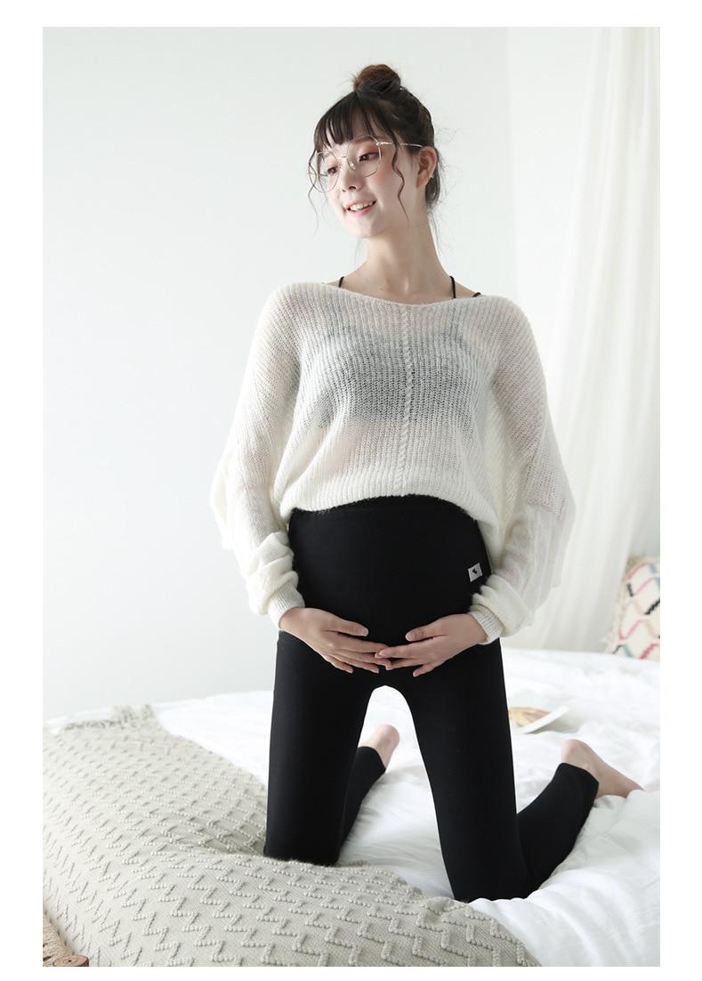 mulher elástica grávida magro legging calças lápis fino engrossar ajustável