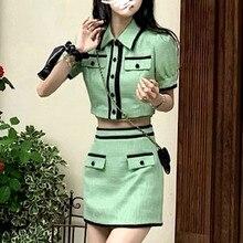 Korean Sweet Fashion Skirt Suits Women Outfits Short Jacket Coat Crop Top + Vest + Bodycon Mini Skirt Set Green Girls 3pcs Sets