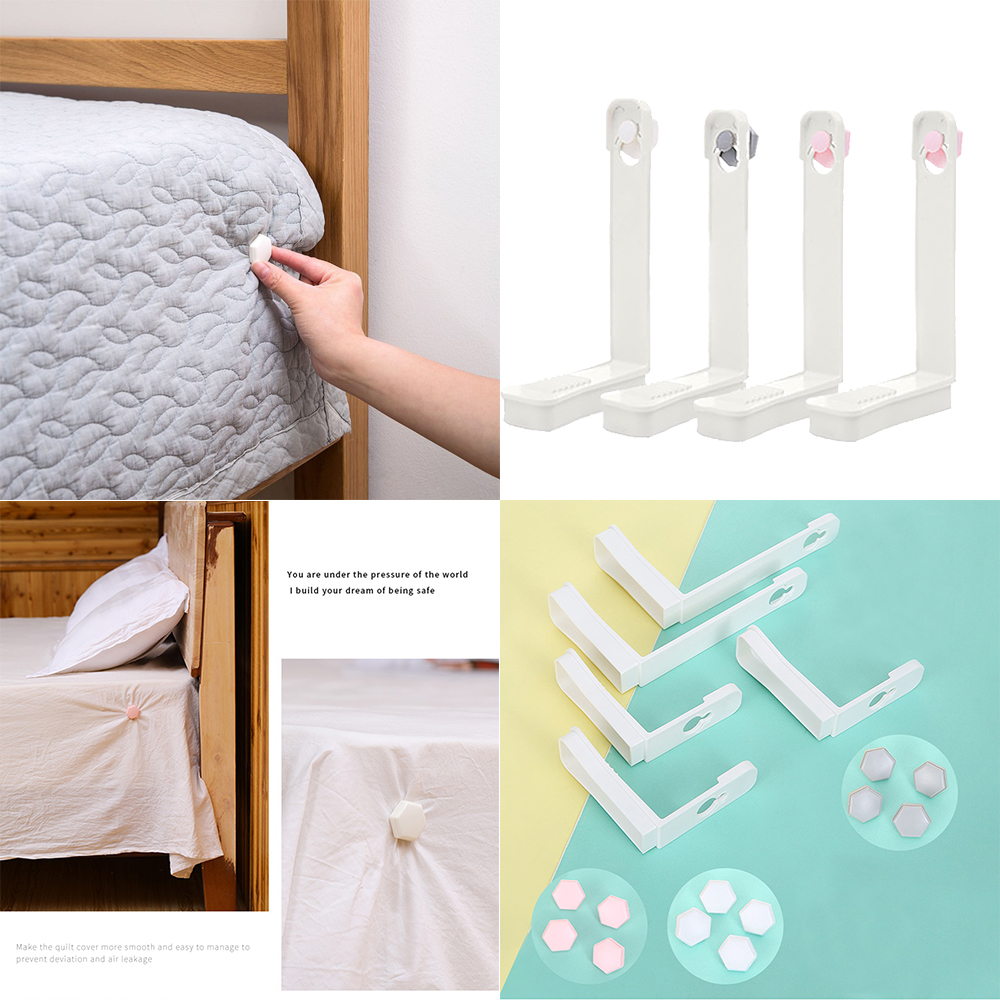 4PCS Bed Sheet Grippers Clip Set Keeping Sheets Place Mattress Sheet Corner Non-slip Holder Fastener Grippers Clips Straps image