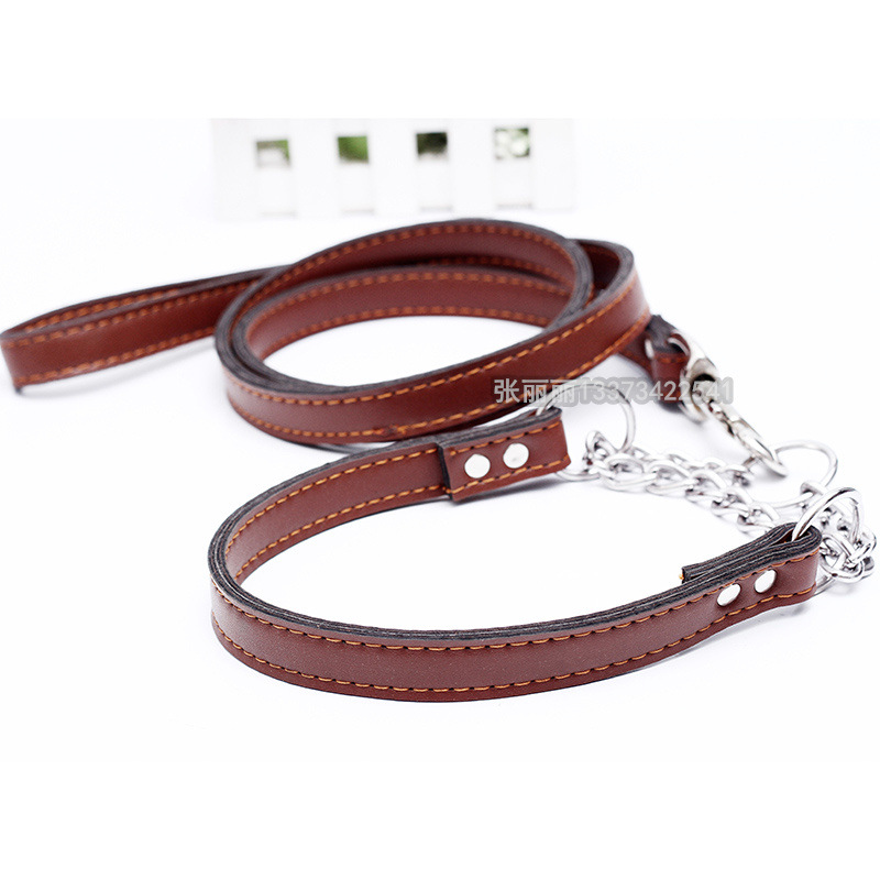 Pet. Pet Zhi Hao Large Dog Hand Holding Rope Genuine Leather Traction Belt Pet Supplies