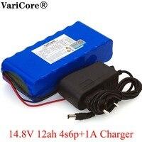 VariCore 14.8V 12Ah 4s6p 18650 oim li-aquecedor de bateria lâmpada de pesca noite mineiro's amplificador baterias com BMS 16.8V + Carregador