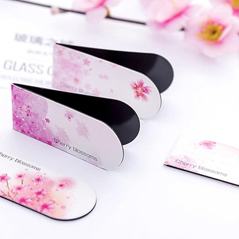 Kawaii Stationery Pink Cherry Blossoms Magnetic Bookmark For Teachers Gift Creative School Supplies Folder Flip Clip