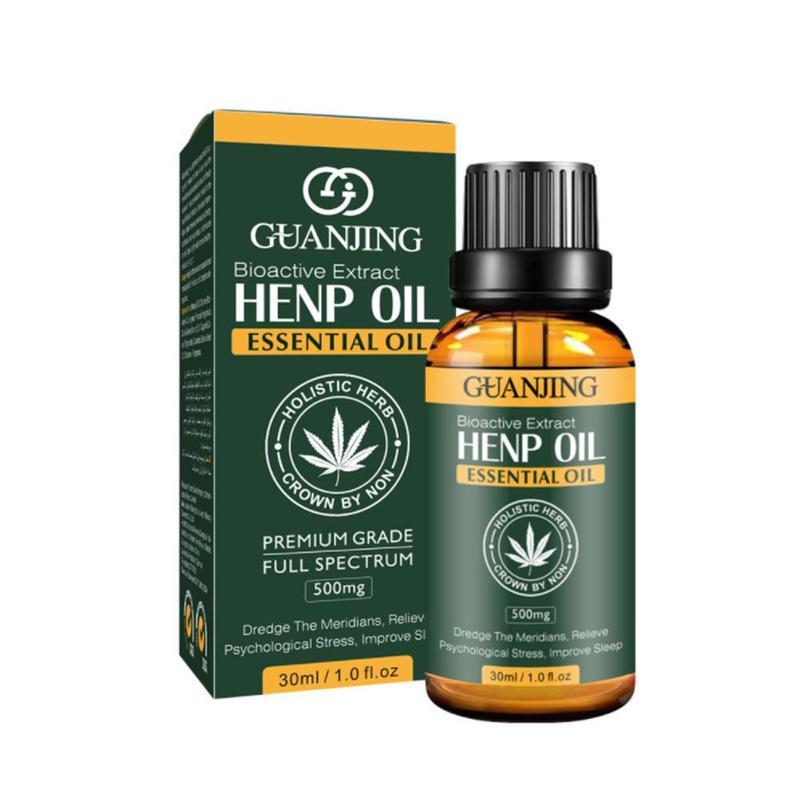 30ml Organic Hemp Seed Oil Face Body Massage Essential Oil CBD Oil Soomthing Skin Care Improve Sleep Body Relieve Stress