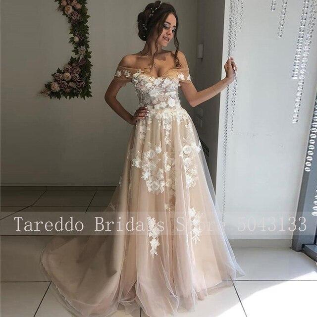 Formal Strapless 3D Ivory Appliques & Champagne Tulle A Line Wedding Dresses 2021 Royal Off Shoulder Nude Vestido de Noiva 2