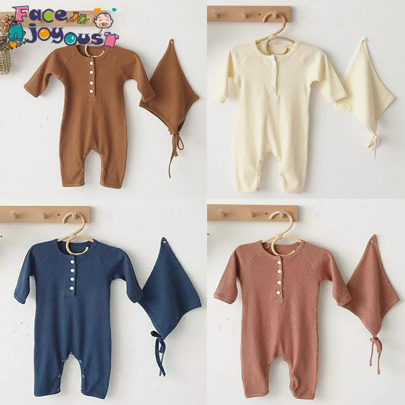 2019 Baby Spring Autumn Clothing Set 0-24m Toddler Kid Girl Boy Ribbed   Rompers   Solid Long Sleeve Jumpsuit Outfit Clothes+ Hat