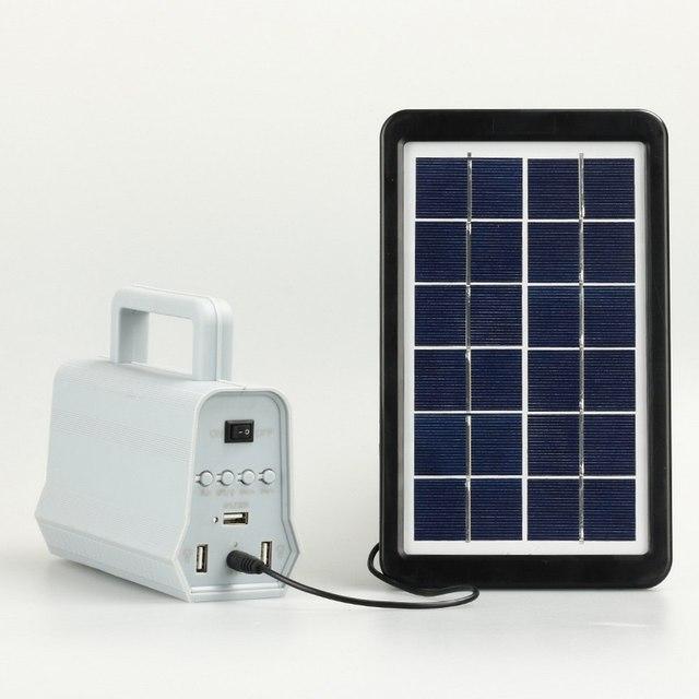 Power Panel LED Solar Generator Kit Bluetooth Speaker USB Charger Home System + 2 LED Bulbs Outdoor Lighting Smartphone Charging 2
