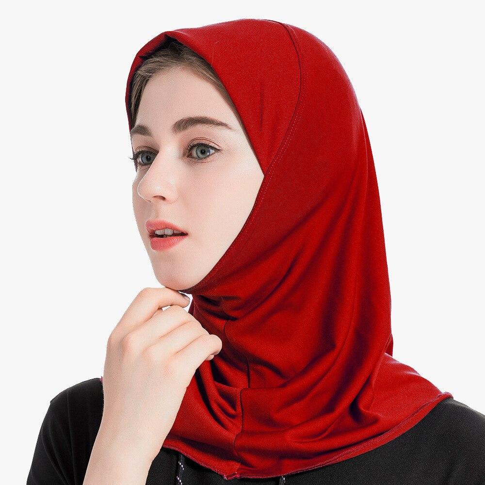 Трендовая однотонная мусульманская женская тюрбан, мусульманская накидка, хиджаб, шапки под шарф, готовые носить женские внутренние хиджабы