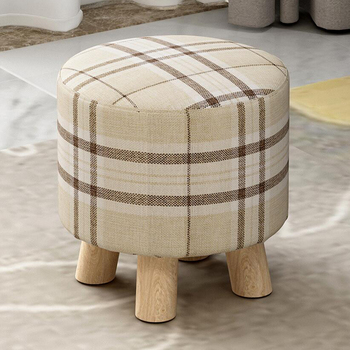 28x18cm Round Linen Fabric Footstool Cover Wooden Stool Slipcover Striped Round Footstool Slipcover image