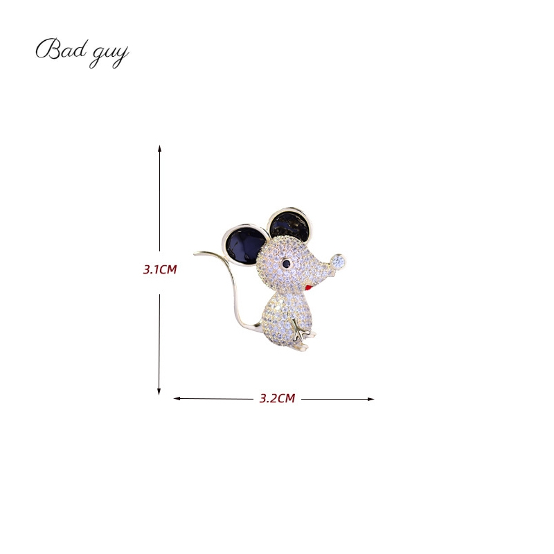 Bad Guy Zircon Brooches for Women's Mouse Brooches Pins Fashion Pins Accessories for Clothes Decoration Brooch Medical Cute Pins-5
