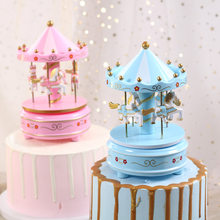 Hot sale carousel music box cake decoration ornaments birthday gifts children's boutique toy wooden horse ornaments(China)
