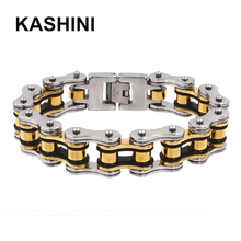 Punk Bracelet Yellow Steel Stainless Mens Moto Bracelets 16mm Largeu Men Bicycle Best Selling Knight Jewelry
