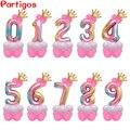 14 шт./компл. 30 ''шарики в виде радужных цифр, первый детский день рождения, детский праздник, единорог, воздушный шар из фольги для вечеринок, у...