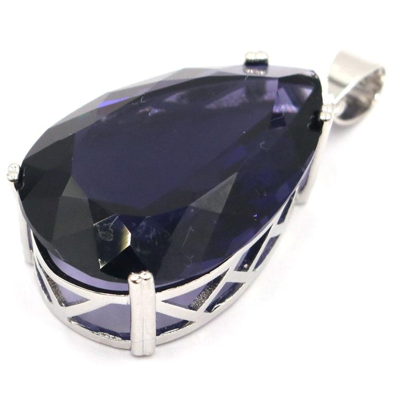 40x20mm Hot Sell Big Drop Shape Gemstone Purple Spinel Woman's Wedding Silver Pendant