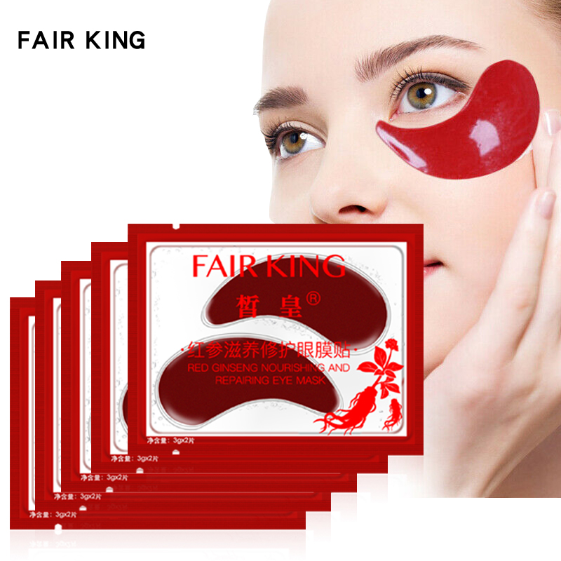 5Pairs/Lot Red Ginseng Eye Mask Nourishing Collagen Eye Patches Dark Circles Remove Anti-Aging Moisturizing For Eyes Skin Care