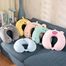 1pc Cartoon U-Shaped Pillows Outdoor Portable Pillow Neckrest Travel Folding Slow Rebound for Sleep Accessories