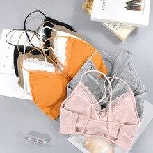 CHRLEISURE Fitness Bralette Lace Thin Shoulder Strap Underwear Women Anti-light Shockproof Push Up Bra