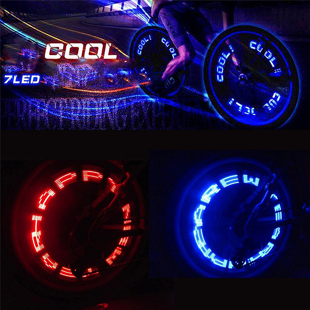 Waterproof Bike Wheel Lights Pattern Changing 7 LED Spoke Lamp For Bicycle