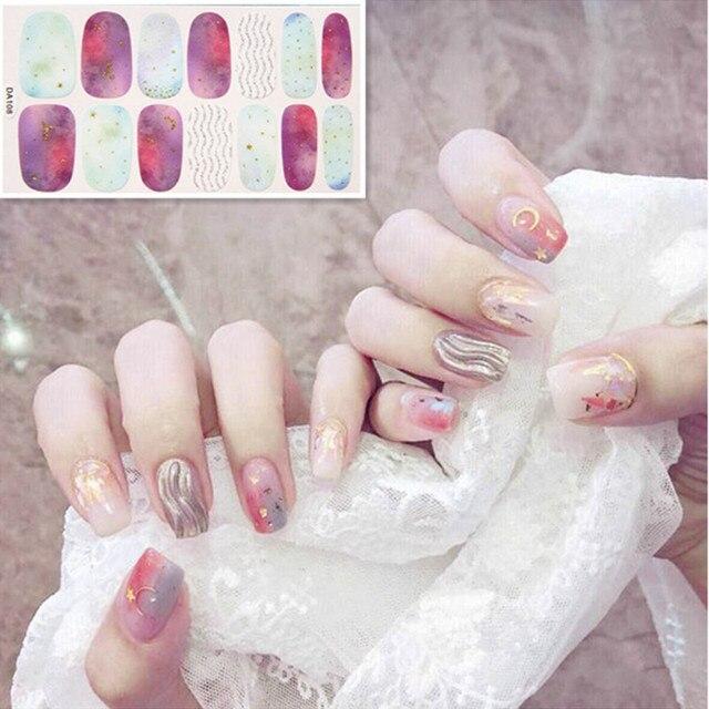 14tips/sheet Colorful Shinny Full Nail Art Tips DIY Adhesive Wraps Waterproof Nail Stickers Decorations Manicure Drop Shipping