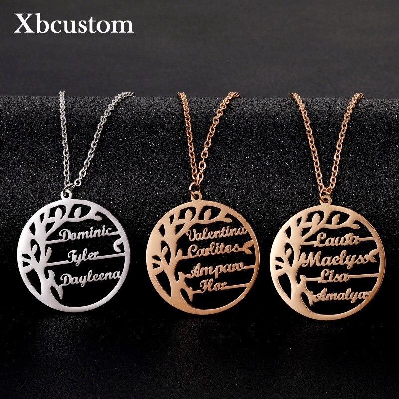 Персонализированные Древо жизни ожерелье на заказ семейное имя ожерелье из нержавеющей стали подвеска табличка ожерелья для женщин мужчин...