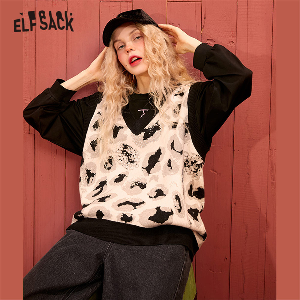ELFSACK White Leopard Print Rhinestone Knit Pullover Women Sweater Vest 2020 Spring V Neck Sleeveless Casual Ladies Daily Tops