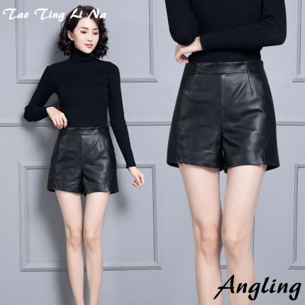2020 Women New Real Genuine Sheep Leather Shorts KS67
