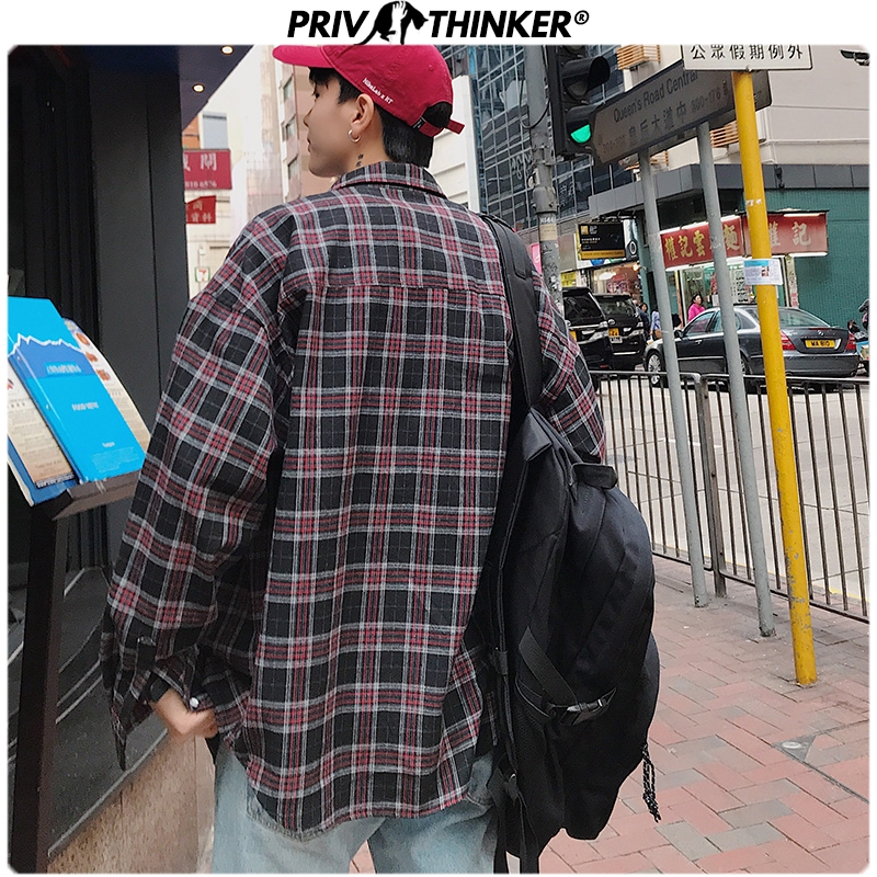 Privathinker Men Fashion Spring Plaid Shirt Mens Office Streetwear Loose Shirts Male Long Sleeve Oversize Casual Clothes 2020