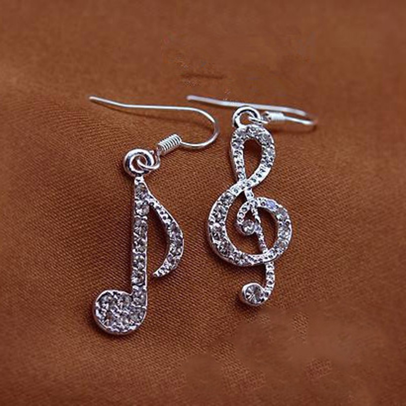 Fashion Newly Musical Note Asymmetric Korean Earring Crystal Pendant Women Earrings Jewelry