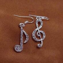 Fashion Newly Musical Note Asymmetric Korean Earring Crystal Pendant Women Earrings Jewelry