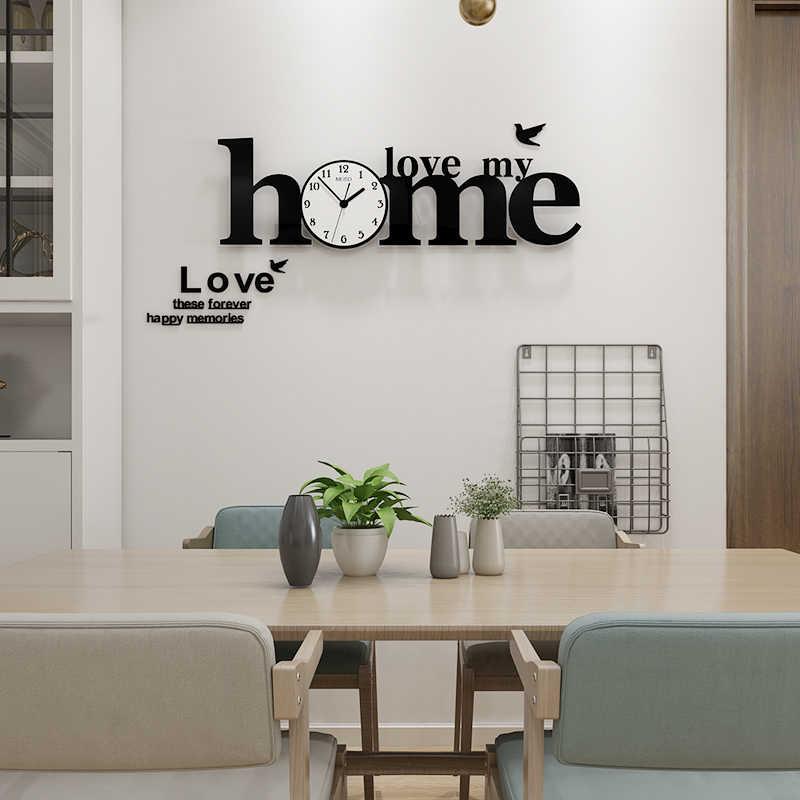 Nuevo amor mi hogar gran decoración Reloj de pared diseño moderno MEISD alfabeto 3D relojes digitales decoración del hogar sala de estar gratis brillante