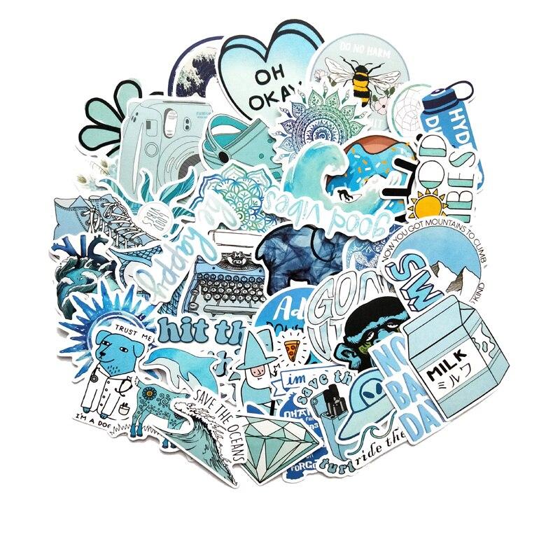 Adesivos desenho animado azul 50 peças, vsco, menina, para laptop, moto, skate, bagagem, refrigerador, notebook, laptop, brinquedo, adesivo f5