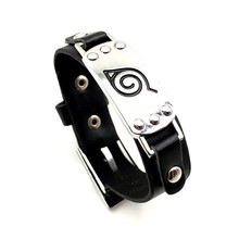 цена на Japan Anime Naruto Wristband Leaf Village Mark Badge Alloy Pu Leather Unisex Bracelet Cosplay Accessories Props For Women Men
