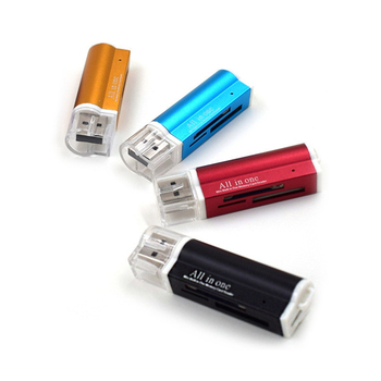 4 In 1 Aluminum Alloy Card Reader USB Card Reader SD Memory Card Readerfor RS-MMC/T-Flash/Micro SD Card Reader image