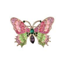 Gariton Big High Quality Fashionable Colorful Rhinestone Butterfly Brooch Pin Gold Women Dress Wedding Bridal недорого