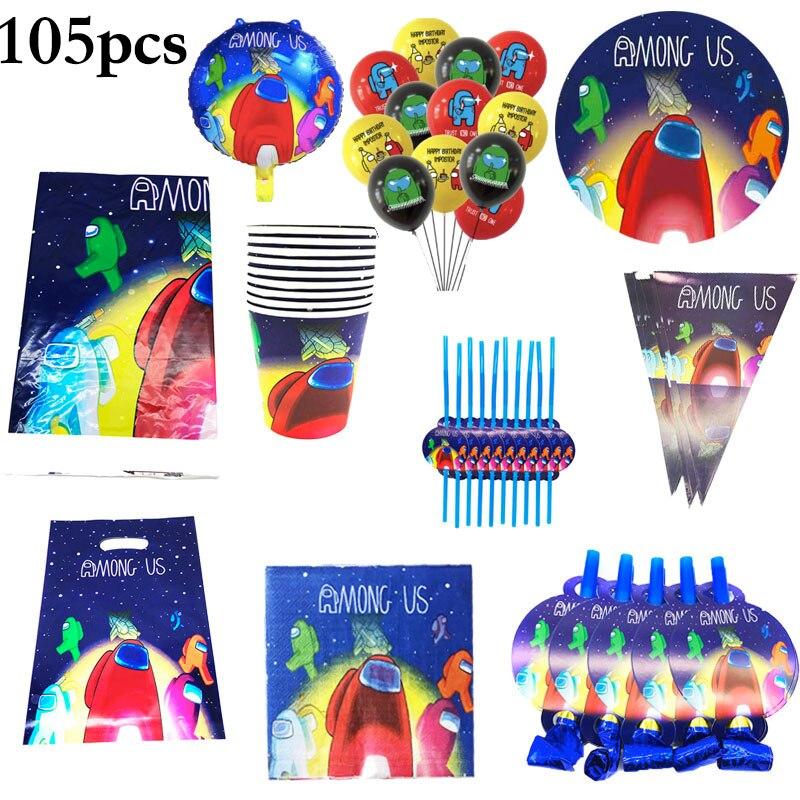 105 шт у нас вечеринка для мальчика день рождение украшения детский душ для вечеринок у нас одноразовая посуда тарелки салфетки для стаканчи...
