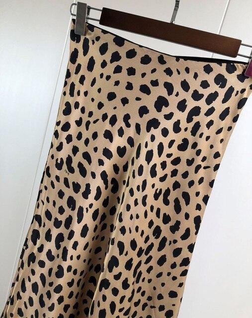 Women Silk Satin The Naomi Wild Things Leopard Print Sexy Elastic High Waist Easy 90's Slip Midi Skirt 3