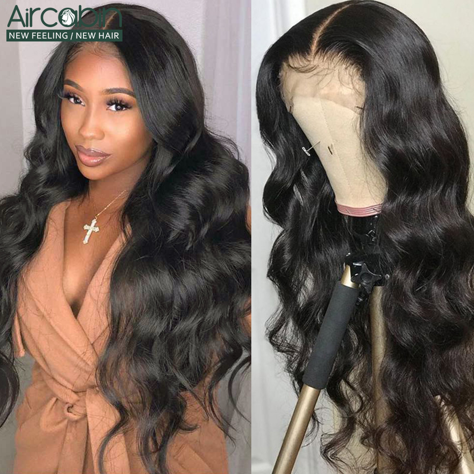Aircabin 13x4 Lace Frontal Wigs Brazilian Body Wave Human Non-Remy Hair 10-26Inch 150 120Density For Black Women Pre Plucked Wig