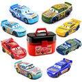 Disney Pixar Cars Lightning McQueen портативная коробка для хранения с Jackson Storm Mack Uncle 1:55 металлическая литая под давлением Автомобильная игрушка Рождествен...