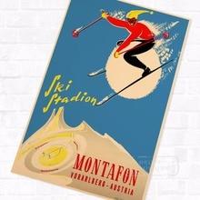 Esquí en Chamonix Mont Blanc Vintage Retro Kraft póster de viaje lienzo DIY Adhesivo de pared hogar Bar arte decoración de carteles regalo